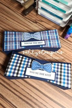 Bow Tie Box. A fun shaped treat box using the Handsomely Suited and Well Dressed Suite from Stampin' Up!® Independent Stampin' Up!® Demonstrator UK. Masculine Birthday Cards, Masculine Cards, Fancy Fold Cards, Folded Cards, Paper Cards, Men's Cards, Tie Box, Suit Card, Treat Holder
