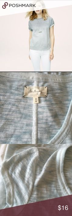 Loft Lou & Grey striped shirt sleeve Aqua white M This is a gorgeous Lou & Grey sold at Ann Taylor Loft. Size medium. Colors are aura and white shirt sleeve. Made of 60% cotton 40% polyester. Mint condition. Worn once. Lou & Grey Tops Tees - Short Sleeve