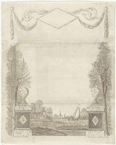 Leonardus Schweickhardt   Wensbrief met decoratief kader met een dorpsgezicht, Leonardus Schweickhardt, Jan Hendriksen, 1793 - 1862   Decoratieve prent voor een geschreven wens. Aan weerszijden bomen naast een vaas op een piëdestal. In het midden een gezicht op een dorp langs een rivier. Op de rivier een roeiboot en een zeilschip. Bovenaan tussen guirlandes een leeg ruitvormig kader. Rechtsboven genummerd: N. 22.