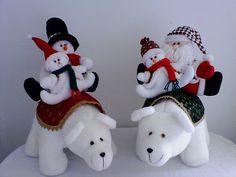 Winter Christmas, Christmas Crafts, Xmas, Christmas Ornaments, Christmas Ideas, Clay Bear, Christmas Centerpieces, Snowman, Santa