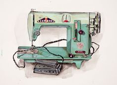 A photograph of a drawing of a turquoise sewing machine by KJ James