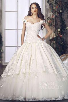 スパークル プリンセス オフショルダー チャペルトレーン サテン ウェディングドレス CWLT1307D