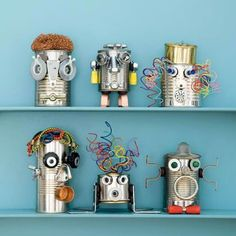 Robot tins - use stickers, yarn and other odds and ends you have lying around the house...