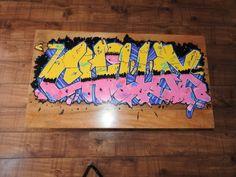 "Handpainted ""Chillax"" coffee-table-with-hand-paintedchillax avaliable from  www.urbanized.co.uk . #urban #urbanart #graffiti #graffitiart #streetart #furniture #interiordesign #bespoke #uk #bristol #abstract #abstractart #contemporary  #handmade #handpainted #wood #interiordesign #urbanfurniture #urbanfurniture  #solidwood #OldSchool #urbanized #mirror #modern #modernfurniture #interior #canvas #urbanized"