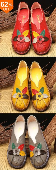 SOCOFY Retro Genuine Leather Soft Sole Casual Flower Flat Loafers. #shoes