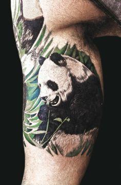 panda tattoo by Mario Barth #InkedMagazine THIS IS SO AWESOME!!!