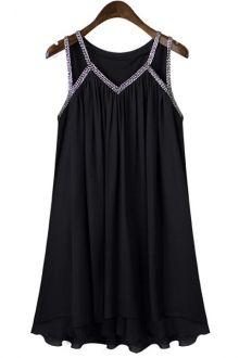 V-Neck Sleeveless Pleated Black Chiffon Dress
