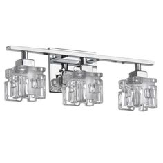 Cambridge 3-Light Polished Chrome Vanity with Clear and Frosted Glass