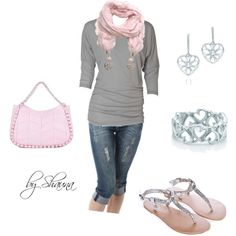 pink ruffled jeweled scarf. Love it, created by shauna-rogers on Polyvore