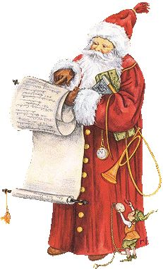 Christmas - Santa checking his Christmas list with his elf helping him