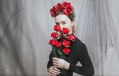 sheer fabric, bodysuit, studio photoshoot, flower crown, rose crown, editorial, valentines day