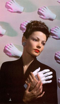 "GENE TIERNEY ""The Girls of Hollywood"" article photo outtake, LIFE magazine, 1942. Modern Cibachrome Photo (detail) by ELIOT Elisofon (Photojournalist, Life staff photographer, Hollywood Color Consultant ) From Masters of Starlight by David Fahey & Linda Rich. 1988. (please follow minkshmink on pinterest) #genetierney #hollywood #surrealism #forties"