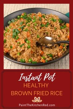 Instant Pot Healthy Brown Fried Rice is a Chinese style fried brown rice recipe thats a great alternative side dish to a Healthy Rice Recipes, Cooking Recipes, Healthy Brown Rice Recipes, Instapot Vegetarian Recipes, Healthy Fried Rice, Vegetarian Fried Rice, Diet Recipes, Healthy Chinese, Chinese Food