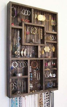 Turn a Plain Shadow Box Into a Stylish Jewelry Holder, jewelry organization idea Jewellery Storage, Jewelry Organization, Jewellery Display, Home Organization, Earring Storage, Earring Display, Storage Organizers, Hanging Organizer, Diy Jewellery