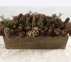 "Pine Cones in Wood Planter Box 28"" Long.  Oh my what a beautiful arrangement.  I would love to have this in my home."