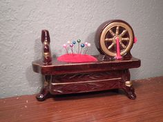 Vintage Pin Cushion Tape Measure Spinning Wheel Sewing Craft Epsteam on Etsy, $14.00