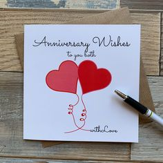 Anniversary Wishes to you both - Love Hearts design Anniversary Card - Free UK Postage Homemade Anniversary Cards, Anniversary Card For Parents, Anniversary Note, Anniversary Crafts, Anniversary Greetings, Wedding Anniversary Cards, Aniversary Cards, Cricut Anniversary Card, Anniversary Verses