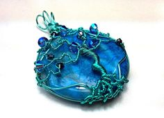 Whimsical Tree of Life Pendant - Crazy Lace Agate - Tropical Blue with Swarovski Crystals