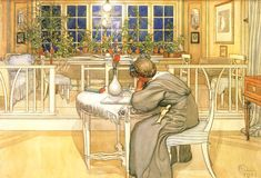 Swedish artist Carl Larsson lovingly (and prolifically) portrayed his home and family of 8 children in his paintings.  The children slept in a single nursery-- a large room with a stage and many beds-- while he and his wife occupied the landing of the upstairs.