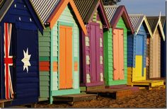 Garden sheds instead of garage at the end of the garden painted like beach huts with pebbled seating area infront. Beach Cabana, Seaside Beach, Shed Colours, House Colors, Porches, Boat Shed, Paint Your House, Floating House, Tropical Garden