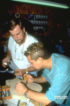 Eddie Van Halen working with Hartley Peavey, 1995.