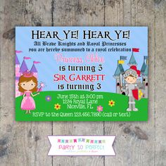 Princess Knight Birthday Invitation - Party for Twins or Siblings - Princess Knight Invitations - Printable or Printed Kids Birthday Party Invitations, Birthday Parties, Princess Birthday, Pink Polka Dots, Printable Invitations, Kid Names, Projects To Try, Siblings, Twins