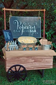 "Cute little popcorn bar - perfect for a fall wedding, maybe as a kind of nibble station before the ""ceremony"""