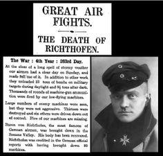 21st April 1918 - Death of Baron von Richthofen