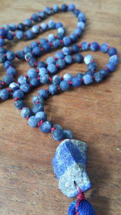 sodalite lapis lazuli 108 beads mala knotted necklace