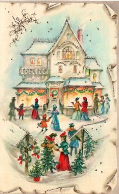 Victorians shopping and picking out Christmas trees.