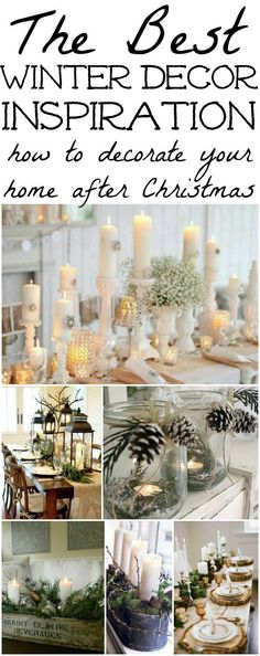 Decorations – Winter Table Ideas & More! The best winter decor inspiration! How to decorate after you take down all of your Christmas decor!The best winter decor inspiration! How to decorate after you take down all of your Christmas decor! After Christmas, Noel Christmas, Christmas Crafts, White Christmas, Christmas Lights, Vintage Christmas, Christmas Mantles, Christmas Island, Coastal Christmas