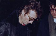 John Lennon signs an autograph for Mark Chapman - his murderer. December 8, 1980.