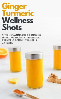 Ginger Turmeric Wellness Shot recipe with lemon, cayenne, and orange. A powerful… Ginger Turmeric Wellness Shot recipe with lemon, cayenne, and orange. A powerful anti-inflammatory and immune boosting tonic! Healthy Juice Recipes, Juicer Recipes, Healthy Juices, Healthy Smoothies, Healthy Drinks, Smoothie Recipes, Healthy Detox, Juice Cleanse Recipes, Healthy Recipes