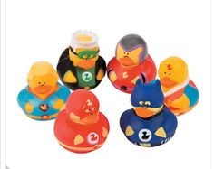 Super Hero Rubber Duckies (6), rubber duckies, villian duck, cupcake toppers, party favors, supplies by luvaduckie on Etsy