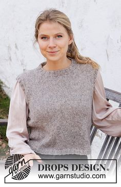 Ladies Cardigan Knitting Patterns, Baby Hat Knitting Patterns Free, Knit Vest Pattern, Free Knitting, Drops Design, New Girl, Knit Jacket, Cardigans For Women, Pulls