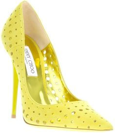 JIMMY CHOO   Yellow Perforated Pumps