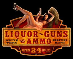 Liquor Guns Ammo Pin-up Girl tin metal sign, a nostalgic retro vintage reproduction.
