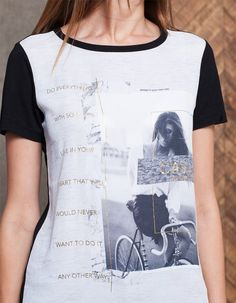 T-shirt bimatéria print - ROUPA - MULHER | Stradivarius Portugal