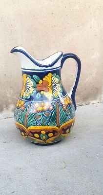 Mexican Talavera Large Water Pitcher Ceramic Handmade Vase Hand Painted Pottery