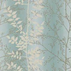Persephone (110186) - Harlequin Wallpapers - A pretty leaf trail with metallic highlights which catches the light beautifully - showing in cream and silver on a pale blue striped background. Other colour ways available. Please request a sample. Paste-the-wall product. wide width.