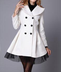 Wholesale Vintage Style Lapel Lace Hem Double Breasted Woolen Blend Coat For Women (WHITE,S), Jackets & Coats - Rosewholesale.com