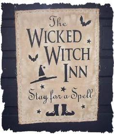 WICKED WITCH INN Primitive Halloween Door Greeter Wall Hanging Sign. $9.95, via Etsy.