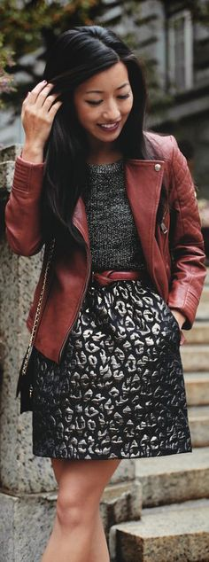 Kenneth Cole Petites: #jacquard #leopard #skirt + #metallic #sweater  #