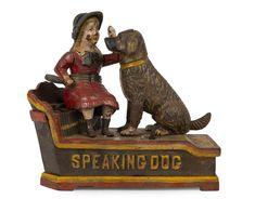 SPEAKING DOG Mechanical Bank, painted cast iron with original key, 18cm high / MAD on Collections - Browse and find over 10,000 categories of collectables from around the world - antiques, stamps, coins, memorabilia, art, bottles, jewellery, furniture, medals, toys and more at madoncollections.com. Free to view - Free to Register - Visit today. #MoneyBanks #MADonCollections #MADonC