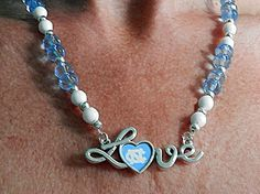 UNC Tarheels Necklace Blue and White Love by OnIslandTimeJewelry, $24.00