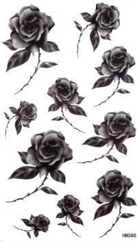 King Horse Waterproof and sweat of men and women fashion sexy black and gray tattoo stickers Black rose