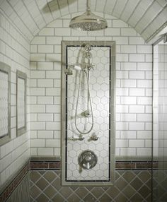 curved and tiled shower ceiling