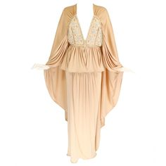 1970s Bill Gibb Ethereal Gown with Floral Beading and Plunging Neckline   From a collection of rare vintage evening dresses and gowns at https://www.1stdibs.com/fashion/clothing/evening-dresses/