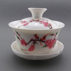 Lucky Gaiwan Magpies Pink Wintersweet Gongfu Tea Cup Covered Bowl GW029