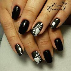(67) Одноклассники Aycrlic Nails, Love Nails, Hair And Nails, White Nail Designs, Gel Nail Designs, Creative Nail Designs, Creative Nails, Valentine Nail Art, Diamond Nails